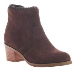 Women's Shoes, Nicole Kadin Ankle Bootie, Suede, Muscat (Burgundy color) Wooden Heel