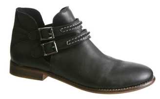 Quarter View:  Women's Shoes, Women's Boots, Ankle boots, leather ankle boot, Nicole Raina Boot, Black, white contrast stitching on straps