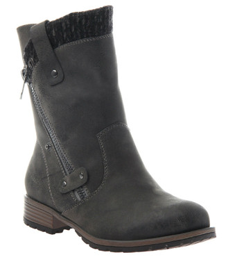 Women's shoes, Madeline Girl Rabble Boot, Moto boot with knit trim, grey pewter, vegan leather, wooden heel