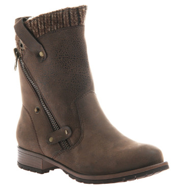 Women's shoes, Madeline Girl Rabble Boot, Moto boot with knit trim, rich brown, vegan leather, wooden heel
