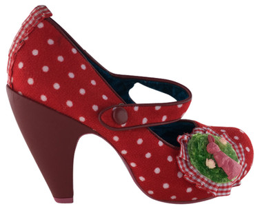 "Women's Shoes, Irregular Choice high heel Mary Jane, Red polka dot wool, leather covered 4"" heel, front gingham appliqu"