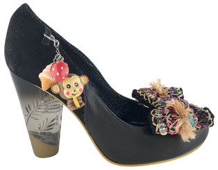 Women's Shoes, Irregular Choice Lucite pump, carved clear lucite heel with gold tip, black suede and leather upper, oversize bow and monkey, ice cream and strawberry removable hanging charm