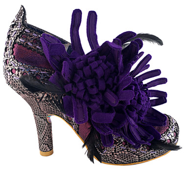"Women's shoes, Irregular choice McGillionaire, Purple oversize flower ankle boot. Metallic leather upper with reptile print. Metallic silver and purple. 3 3/4"" heel."