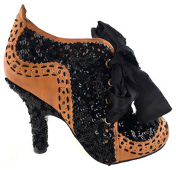 Women's shoes, Irregular Choice Abigails Party, Black sequin and tan leather upper, black contrast top stitching, sequin covered heel. Raw edge silk fabric laces.