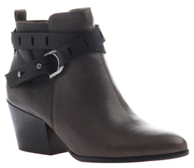 Women's Shoes, Nicole Francis Bootie, Western inspired ankle boot with wrap around straps and pointed toe. New Grey color way with black leather straps.