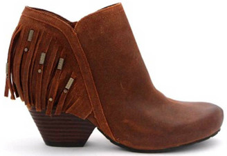 Women's Shoes, OTBT Folkloric Bootie, Western Fringe Bootie, Stacked wooden heel and rounded toe. Beaded fringe at back heel. New Tan (Reddish Brown Suede)