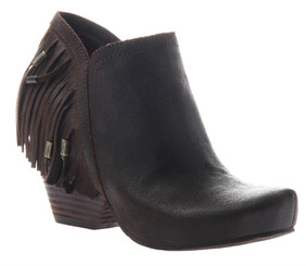 Women's Shoes, OTBT Folkloric Bootie, Western Fringe Bootie, Stacked wooden heel and rounded toe. Beaded fringe at back heel. Cocoa Powder color way (Brown) Leather.