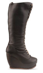 Women's Shoe, Women's knee high boots, Irregular Choice Toad in the Hole. Platform wedge boot, lace up, leather, color Black.