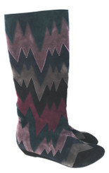 "Women's Shoes, Women's Boots, knee high boots by Irregular Choice, Suede Chevron patchwork, Navy Grey and Navy multi colors. 1 1/4"" wedge heel."
