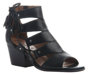 Quarter View: Women Shoes Online, Women's Shoes, Women's Sandals, Nicole Tatiana Sandal, Western Sandal with cutouts and fringe tassel, Black Leather.