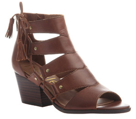 Women Shoes Online, Women's Shoes, Women's Sandals, Nicole Tatiana Sandal, Western Sandal with cutouts and fringe tassel, Black Leather.