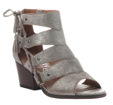 Women Shoes Online, Women's Shoes, Women's Sandals, Nicole Tatiana Sandal, Western Sandal with cutouts and fringe tassel, Gray Silver Leather Upper.