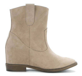 Women Shoes Online, Women's Shoes, Women's Boots. OTBT Sandpiper, Hidden Wedge western ankle boot. Sand (Beige) Soft Suede upper.