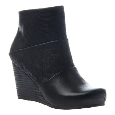 "Side View. Women Shoes Online, Women's Shoes, Women's Boots. OTBT Dharma Bootie, Wedge Bootie, Mix leathers, 3"" stacked wedge."