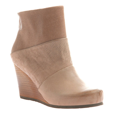 "Side View. Women Shoes Online, Women's Shoes, Women's Boots. OTBT Dharma Bootie, Wedge Bootie, Pecan (Nude), Mix leathers, 3"" stacked wedge."
