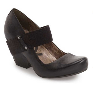 Side View. Women Shoes Online, Women's Shoes, Women's Wedge MaryJane. OTBT Bespoke Heeled Wedge with Fabric Strap. Metal stud details. Color Black.