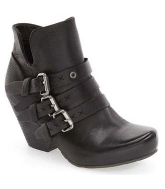 "Side View. Women Shoes Online, Women's Shoes, Women's Boots. OTBT Lasso Bootie, Wedge heeled Bootie with multi-straps. 2.91"" heel height and .5"" platform. Color Black with silver hardware."