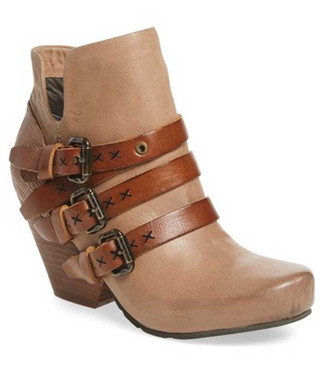 "Side View. Women Shoes Online, Women's Shoes, Women's Boots. OTBT Lasso Bootie, Wedge heeled Bootie with multi-straps. 2.91"" heel height and .5"" platform. Color Pecan (nude), Brown Straps, with antique brass hardware."