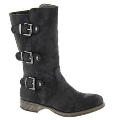 """Side View. Women Shoes Online, Women's Shoes, Women's Boots. Madeline Girl Roasted Mid Calf Boot, 1"""" heel and 3 multi straps, Black upper with silver hardware."""