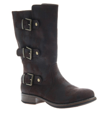 """Side View. Women Shoes Online, Women's Shoes, Women's Boots. Madeline Girl Roasted Mid Calf Boot, 1"""" heel and 3 multi straps, Dark Brown upper with antique brass hardware."""
