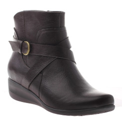 """Quarter Side View: Women shoes online, Women's boots, Axxiom Field Day, Ankle boot with small 1"""" wedge heel and cross over buckle strap. Manmade materials. Color Dark Brown. Antique brass buckle."""