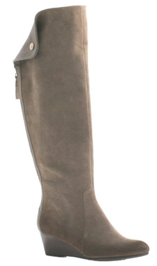 "Side View: Women Shoes Online, Women's Shoes, Women's Boots, Nicole Paris Boot, Knee Hight boot with center back zipper and contrast panel and fold-over flap. Suede upper, 2"" wooden wedge heel, Color Grey suede."