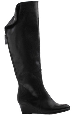 "Side View: Women Shoes Online, Women's Shoes, Women's Boots, Nicole Paris Boot, Knee Hight boot with center back zipper and contrast panel and fold-over flap. Suede upper, 2"" wooden wedge heel, Color Black Leather"