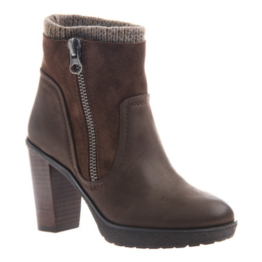 Side Quarter View: Women Shoes Online, Women's Shoes, Women's Boots, Nicole Roselle Boot, Knit collared ankle boot, suede and leather upper with exposed zipper and stacked heel, Color Chocolate (brown)