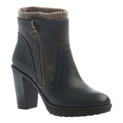 Side Quarter View: Women Shoes Online, Women's Shoes, Women's Boots, Nicole Roselle Boot, Knit collared ankle boot, suede and leather upper with exposed zipper and stacked heel, Color Lead (black) dark tan sweater trim