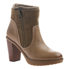 Side Quarter View: Women Shoes Online, Women's Shoes, Women's Boots, Nicole Roselle Boot, Knit collared ankle boot, suede and leather upper with exposed zipper and stacked heel, Color Pecan (medium tan) dark tan suede and tan sweater