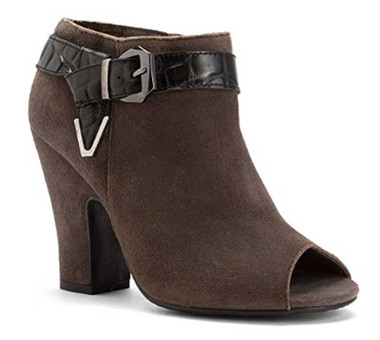 Quarter Side View: Women Shoes Online, Women's Shoes, Women's Boots, Nicole Lin Bootie, Suede upper with contrast leather buckle strap with metal ornaments. Peep toe, covered heel. Color: Lead (Dark Grey)