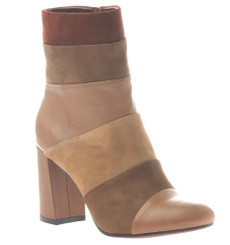 Quarter side view: Patchwork places by Poetic Licence. Leather upper, retro mid calf boot, square heel and tapered toe. Shades of tan to brown. Color New Mud.