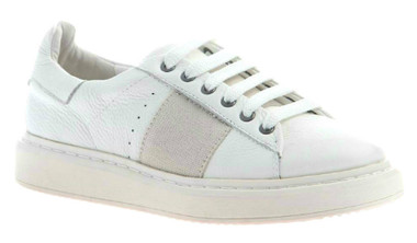 """Quarter View. Women Shoes Online, Women's Shoes, Women's Sneakers. OTBT Normcore. Classic Sneaker with leather upper and versatile lace option. 1.38"""" heel height. Color: White."""