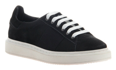 "Quarter View. Women Shoes Online, Women's Shoes, Women's Sneakers. OTBT Normcore. Classic Sneaker with leather upper and versatile lace option. 1.38"" heel height. Color: Black."