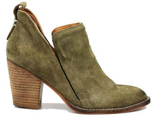 "Side View: Women's Shoes, Women's Bootie, Burman 2 in Khaki (green) Suede, Soft suede upper, elastic insert, 3"" stacked wooden heel."