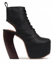 "Side View: Women's Shoes, Women's Boot, Platform Bootie with curved wooden heel. Jeffrey Campbell Lana Boot. Black leather upper. 5"" heel and 2.25"" platform, Size 6"