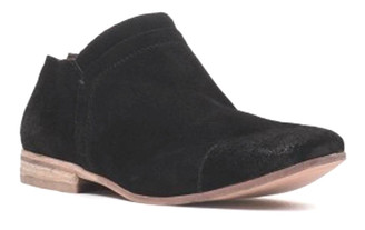 "Quarter View: Women's Shoes, Women's Bootie, Low heeled suede bootie, black oiled suede, stacked wooden heel 3/4"", inside zipper, size 11"