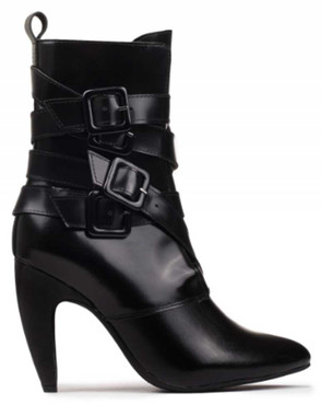 "Side View: Women's Shoes, Women's Boot, Stiletto Boot with multi-buckled straps. Jeffrey Campbell Destroyer. 4"" curved heel, patent leather upper. Size 10M"
