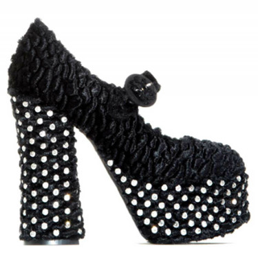 Side View: Women's Shoes, Women's Mary Jane, Chunky Platform Mary Jane with decorated crystals. Boucle fabric upper and crystal jewels. Black, Size 6.