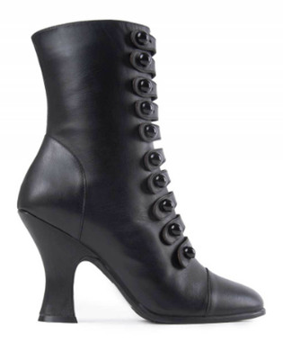 "Side View: Women's Shoes, Jeffrey Campbell Poppin, Mid ankle boot with multiple button straps, 3.75"" heel, leather upper, color Black, size 10"