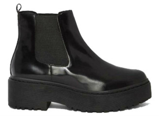 """Side View: Women's Shoes, Women's Platform Boot, Jeffrey Campbell Universal, Platform Chelsea boot with rubber lug traction sole. 2"""" heel and 1.5"""" platform. Patent leather, leather lining, color Black. Size 10"""