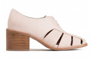 "Side View: Women's Shoes, Women's Oxfords, Jeffrey Campbell Alonzo, Woven leather upper, stacked wooden heel, and leather lining. 2.5"" heel. Color Natural, Size 6."