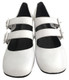 "Pair View: Women's Shoes, Women's Mary Janes, Jeffrey Campbell Bickle, Double Strap Mary Janes, Block 2.5"" heel, Color White. Size 6"