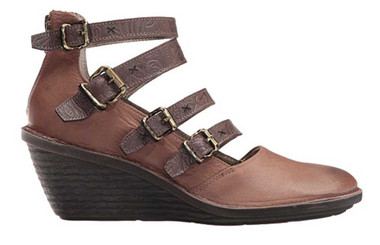 "Side View. Women Shoes, Women's Wedge, OTBT Biker, Multiple strapped Mary Jane. Razor cut leather upper, embossed leather straps, wooden wedge heel 2.5"". Color Acorn (brown)"