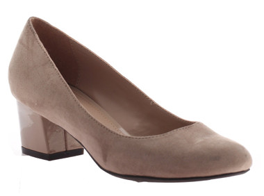"Quarter View: Women Shoes, Women's Heels, Madeline Abbey, Women's Mid Heel, Rounded toe 2"" square block heel, Color Mid Taupe."