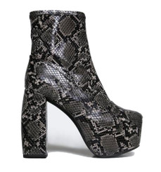 "Side View: Women's Shoes, Women's Boots, Jeffrey Campbell Fiction Boot, Snake skin platform boots, Color: Black grey snakeskin, 5.5"" heel and 2.25"" platform."
