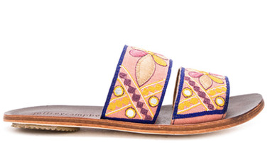 Side View: Women's Shoes, Women's Slides, Jeffrey Campbell Orlean, Artisan slide with embroidered fabric upper. Size 10. Color Coral Navy.