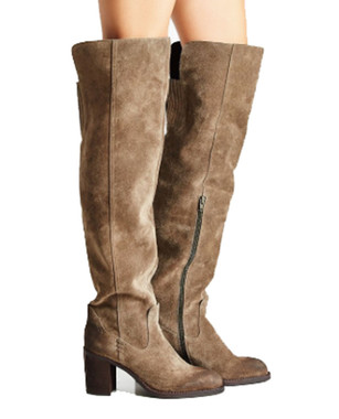 """Side View: Women's Shoes, Women's Over the Knee Boot, Suede upper, Jeffrey Campbell Raylan, 3.25"""" heel, Color Taupe, Size 7"""