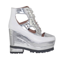 "Side View: Women's Shoes, Women's Platform Sneaker, Silver and White, 5: heel, 2"" platform. Leather upper with cut outs."