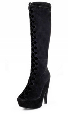 "Quarter View: Women's Boots, Lace up boot, Jeffery Campbell Dallyce, Size 6 black suede, 5.75"" heel, 2"" platform"